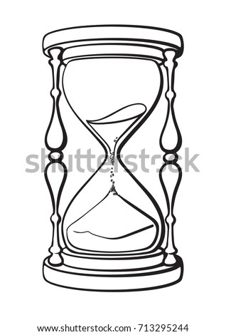 Hourglass Black White Hand Drawn Vector Stock Vector ...