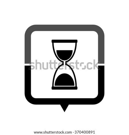 Hourglass - black vector icon; map pointer;  message bubble