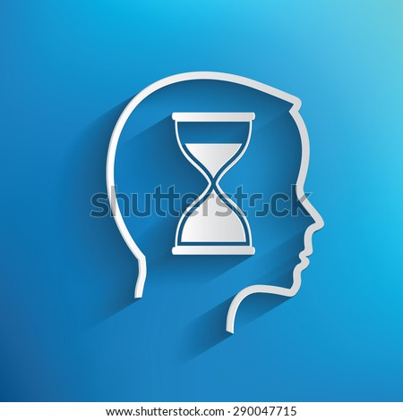 Hourglass concept on blue background,clean vector - stock vector