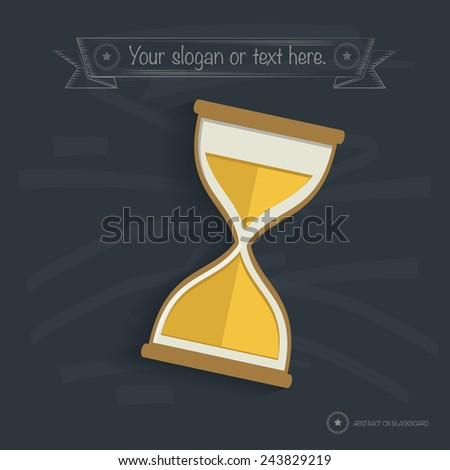 Hourglass design on blackboard background, clean vector - stock vector