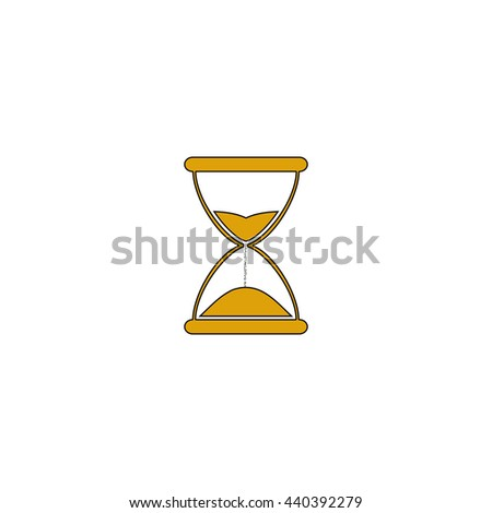 hourglass Flat yellow thin line symbol on white background. Vector icon