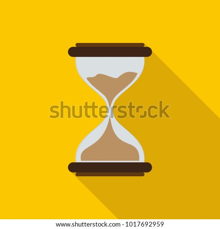 Hourglass icon in flat style with long shadow, isolated vector illustration on yellow transparent background