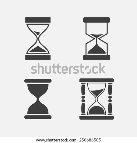 Hourglass icon set (four pieces). Isolated on white background. Vector illustration, eps 8. - stock vector