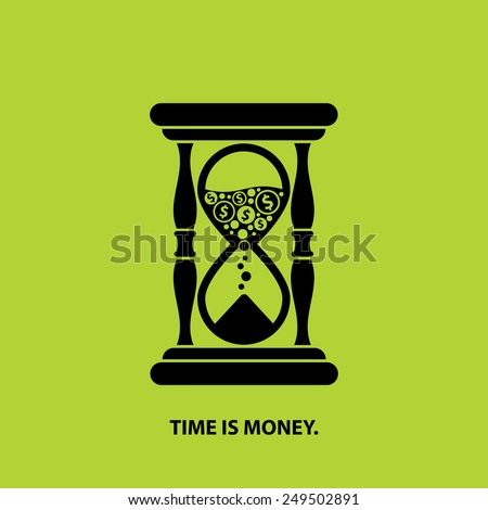 hourglass icon with coins and time is money sign, vector illustration poster - stock vector
