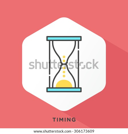 Hourglass icon with dark grey outline and offset flat colors.
