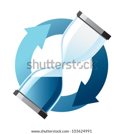 Hourglass in dark blue color with arrows - stock vector