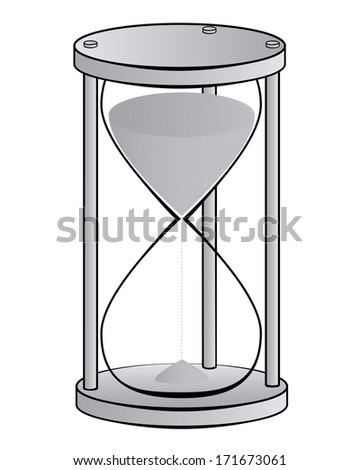 hourglass in shades of gray on a white background