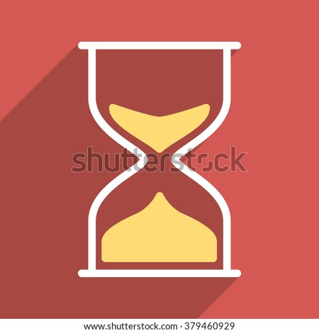 Hourglass long shadow vector icon. Style is a flat light symbol with rounded angles on a red square background.