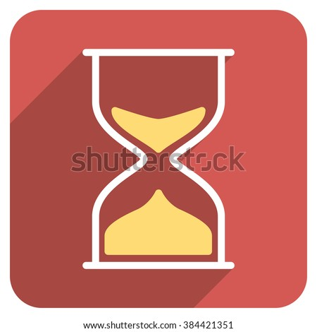 Hourglass long shadow vector icon. Style is a flat symbol on a red rounded square button.