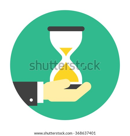 Hourglass on hand icon