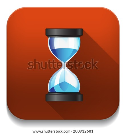 Hourglass sand clock icon With long shadow over app button - stock vector