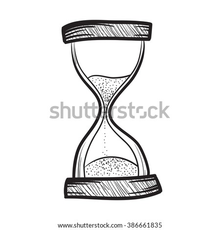 Hourglass, sand timer, sand watch, sand clock vector hand drawn illustration icon