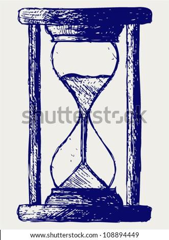 Hourglass sketch - stock vector