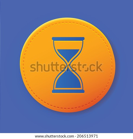 Hourglass symbol on yellow button,vector - stock vector
