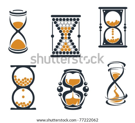Hourglass symbols and icons for time concept and design or logo template. Jpeg version also available