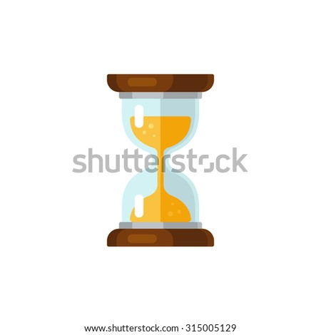 Hourglass time icon in flat vector style. Isolated on white background.