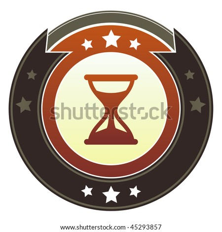 Hourglass, timer, or wait icon on round red and brown imperial vector button with star accents