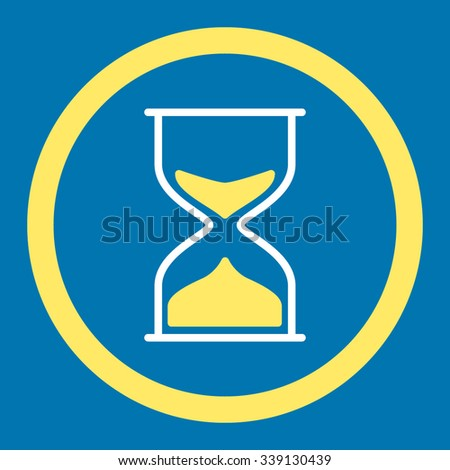 Hourglass vector icon. Style is bicolor flat rounded symbol, yellow and white colors, rounded angles, blue background.