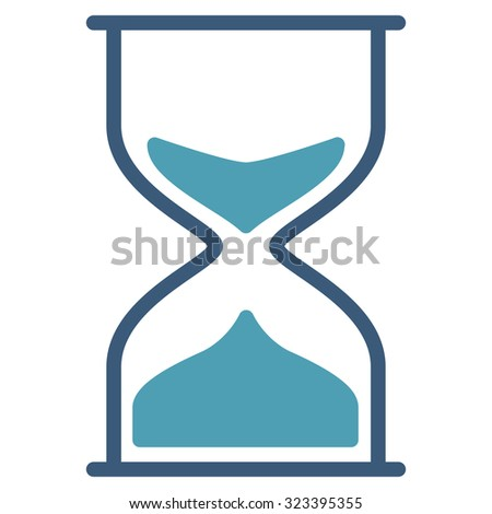 Hourglass vector icon. Style is bicolor flat symbol, cyan and blue colors, rounded angles, white background.
