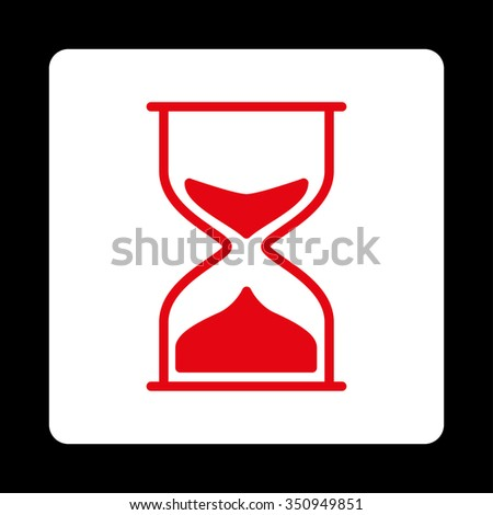 Hourglass vector icon. Style is flat rounded square button, red and white colors, black background.