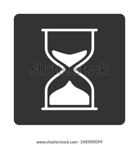 Hourglass vector icon. Style is flat rounded square button, white and gray colors, white background.