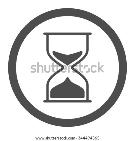 Hourglass vector icon. Style is flat rounded symbol, gray color, rounded angles, white background.