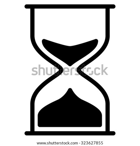 Hourglass vector icon. Style is flat symbol, black color, rounded angles, white background.