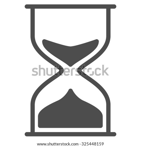 Hourglass vector icon. Style is flat symbol, gray color, rounded angles, white background.