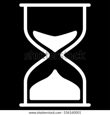 Hourglass vector icon. Style is flat symbol, white color, rounded angles, black background.