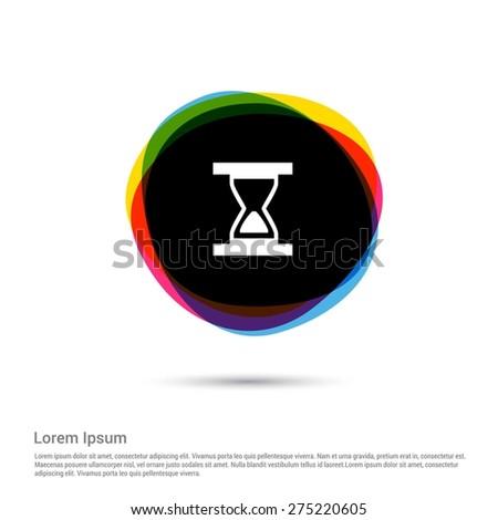 Hourglass vector icon, White pictogram icon creative circle Multicolor background. Vector illustration. Flat icon design style - stock vector