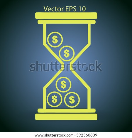 Hourglass with dollars vector illustration - stock vector