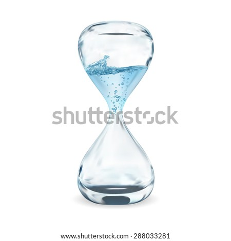 hourglass with dripping water close-up, time concept - stock vector