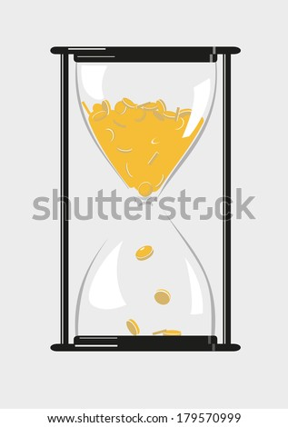 Hourglass with gold coins.