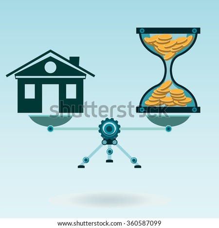 Hourglass with gold coins and a house on the scale in balance. Time is money. The real estate market. Mortgage. - stock vector