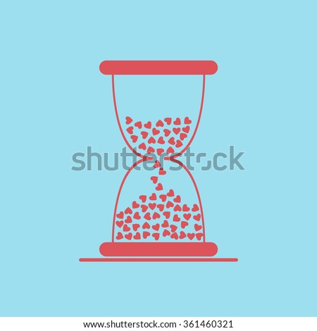 hourglass with hearts inside - stock vector