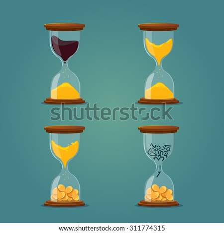 hourglass with sand, oil, coins. business illustration - stock vector