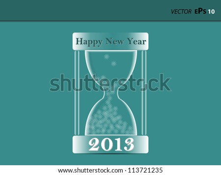 Hourglass 2013 with snowflakes - stock vector