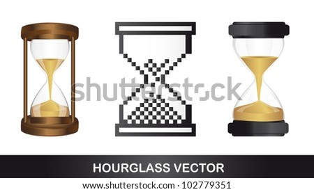 hourglasses isolated over white background. vector illustration - stock vector