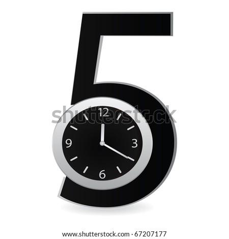 Hours against figure five. Vector illustration - stock vector