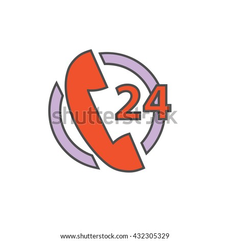 Hours 24 Support Service Icon - stock vector