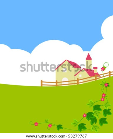 Country Farm Scene Stock Vector 51822241 Shutterstock