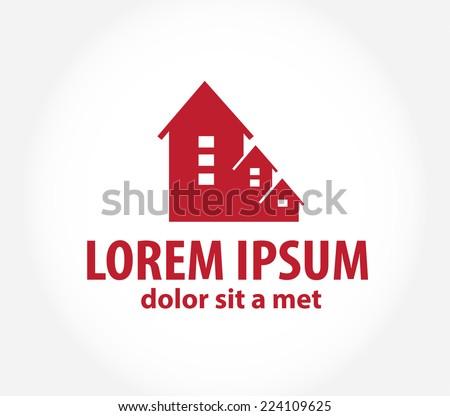 House abstract real estate countryside logo design template. - stock vector