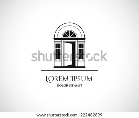 House Abstract Real Estate Residential Logo Design Template for Company. Building Vector Black Silhouette on White Background - stock vector
