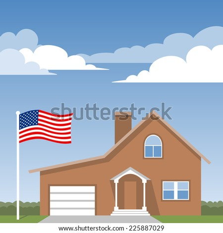 House and american flag - stock vector