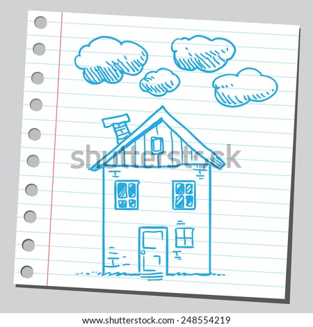 House and cloudy weather - stock vector
