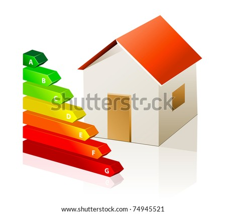 House and energy classification vector icon isolated on white background
