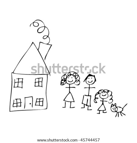 house and family in kids drawing style - stock vector