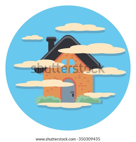 house and fog flat icon in circle - stock vector