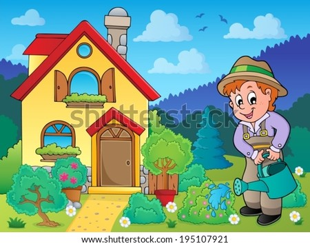 House and gardener 2 - eps10 vector illustration.