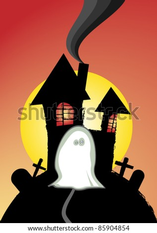 House and ghost vector - stock vector